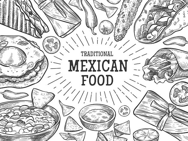 Bannière de cuisine mexicaine traditionnelle