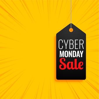 Bannière cyber monday avec étiquette de vente sur jaune