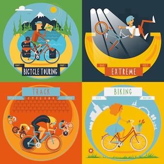 Bannière de cyclisme 4 icônes plat