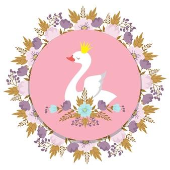 Bannière avec cygne princesse de vecteur et floral