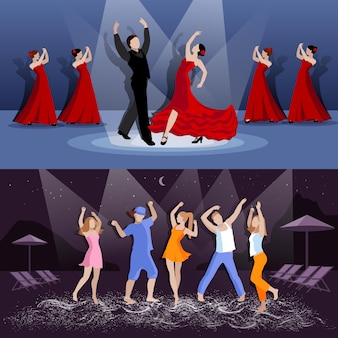 Bannière danseurs en mouvement
