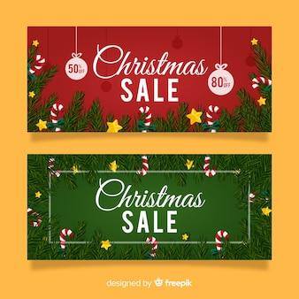 Bannière de branches de pin de vente de Noël