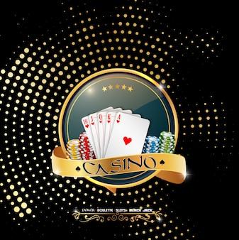 Bannière de casino avec carte et jetons