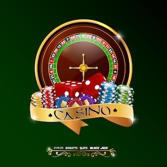 Bannière de casino avec roulette