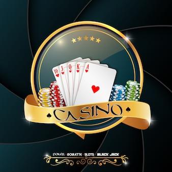Bannière de casino de poker avec des puces et des cartes