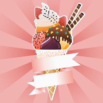 Bannière de cône de crème glacée avec étiquette de ruban