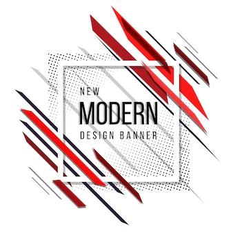 Bannière de demi-teinte abstraite moderne rouge et noir