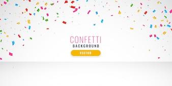 Bannière de design fond confettis célébration