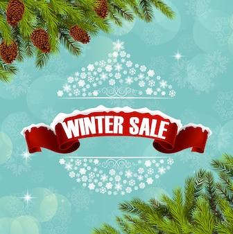 Bannière de fond de vente d'hiver et arbre de Noël