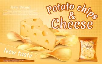 Bannière de promotion avec des chips de pommes de terre réalistes et un morceau de fromage
