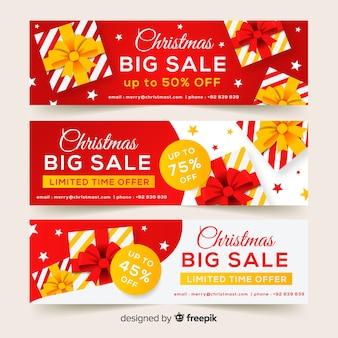 Bannière de vente de cadeaux plat Noël