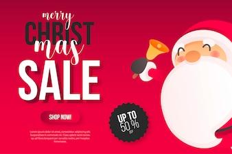 Bannière de vente de Noël avec Santa mignon