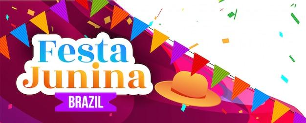 Bannière décorative du festival festa junina abstraite
