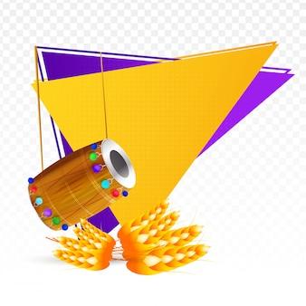 Bannière décorative du festival punjabi, tambour et blé sur triangl