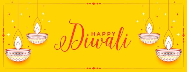 Bannière décorative jaune joyeux diwali dessiné à la main
