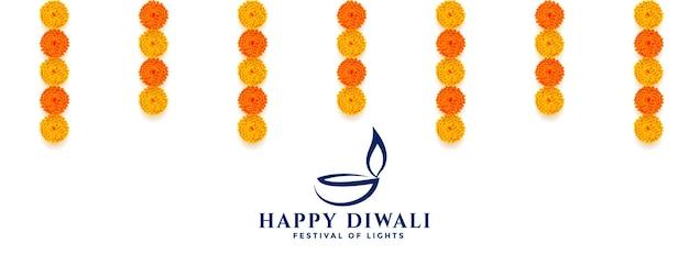 Bannière décorative joyeux diwali avec des fleurs
