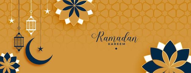 Bannière décorative de ramadan kareem et eid de style islamique