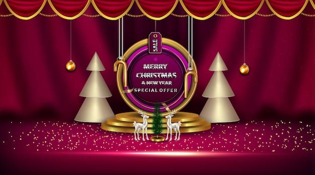 Bannière De Défilé Réaliste De L'offre Spéciale De Luxe Joyeux Noël Et Nouvel An Vecteur Premium