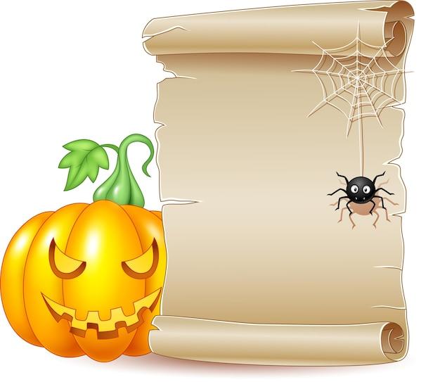 Bannière de défilement halloween avec effrayante citrouille et araignée