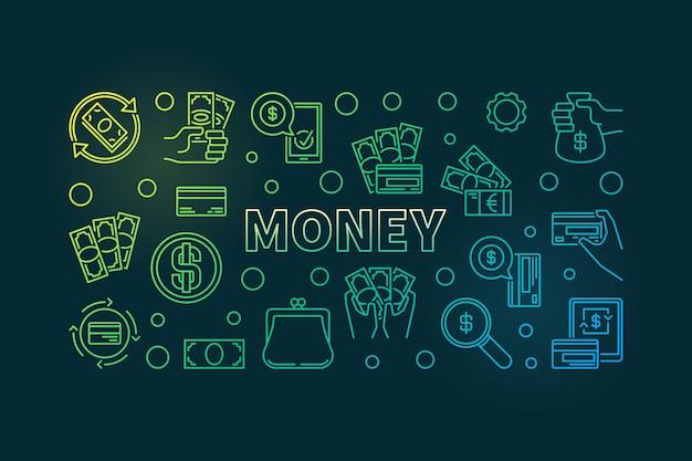 Bannière dégradé de contour d'argent