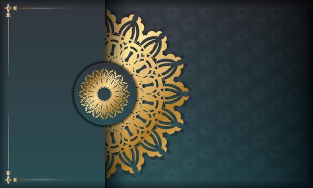 Bannière dégradée verte avec motif doré abstrait pour la conception sous votre logo ou texte