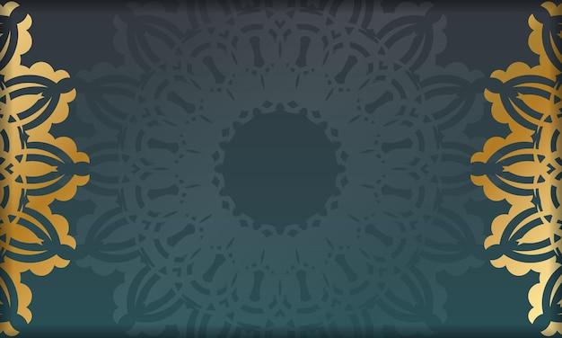 Bannière dégradée verte avec motif en or indien pour la conception sous votre logo ou texte