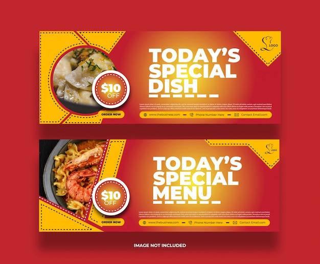 Bannière délicieuse de restaurant de nourriture offre spéciale minimale créative pour les médias sociaux