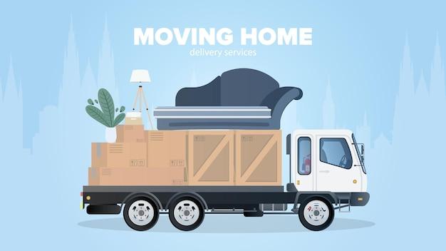 Bannière de déménagement à la maison. déménager dans un nouvel endroit. camion blanc, boîtes, canapé, plante d'intérieur, lampe. isolé. .