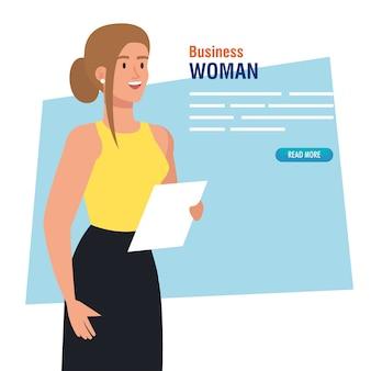 Bannière avec design élégant illustration femme d'affaires