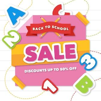 Bannière design plat retour aux ventes de l'école