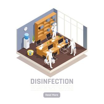 Bannière de désinfection isométrique