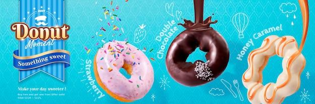 Bannière de dessert avec différentes saveurs