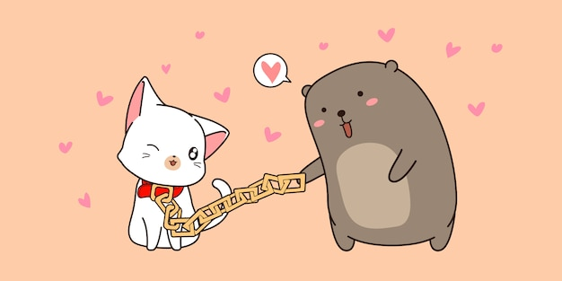 Bannière de dessin animé mignon ours et chat