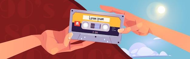 Bannière de dessin animé de mixtapes rétro avec des mains humaines se donnant des cassettes audio