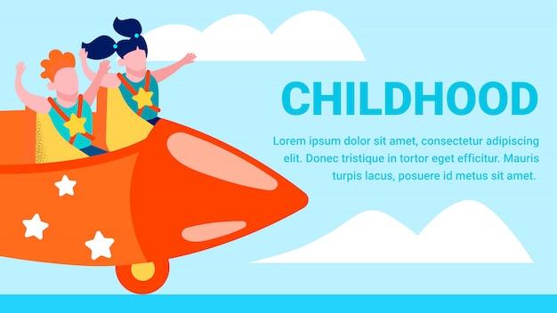Bannière de dessin animé plat heureux motivation enfance