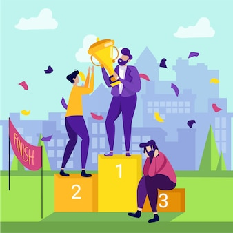 Bannière de dessin animé pour les gagnants et les perdants de la cérémonie de remise des prix