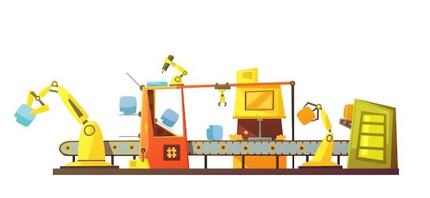 Bannière de dessin animé rétro ligne stock automatique