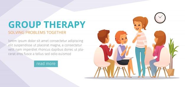 Bannière de dessin animé de thérapie de groupe avec résolution des problèmes ensemble, descriptions et bouton lire la suite