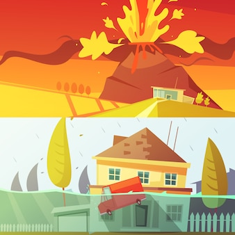 Bannière de dessin animé de volcan et d'inondation
