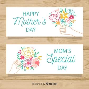 Bannière dessiné main bouquet de fleurs fête des mères