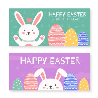 Bannière dessinée pour pâques avec lapin heureux à la main