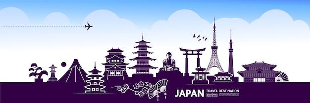 Bannière de destination de voyage au japon
