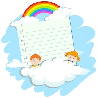 Bannière avec deux enfants dans le ciel
