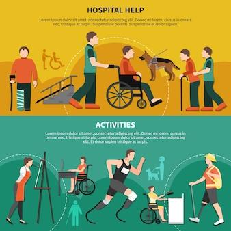 Bannière de deux personnes handicapées horizontales avec l'aide de l'hôpital