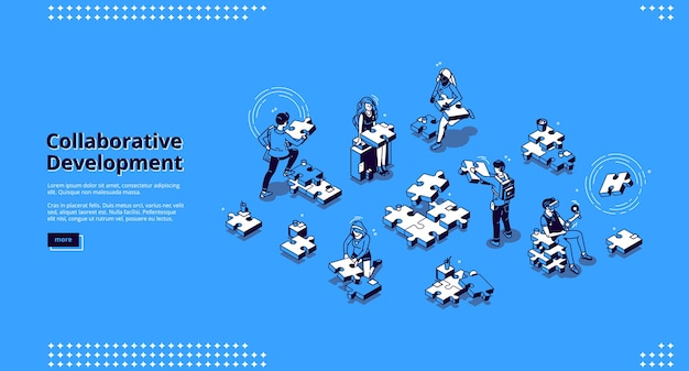 Bannière de développement collaboratif. concept d'entreprise de travail d'équipe et stratégie de partenariat. page de destination de la collaboration au siège social avec des personnes isométriques et des pièces de puzzle