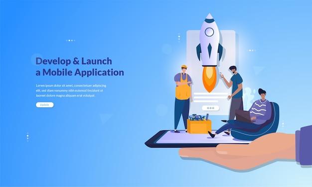 Bannière sur le développement et le lancement d'un concept d'application mobile