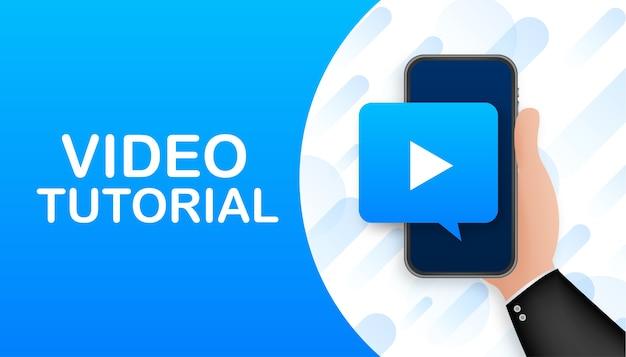 Bannière de didacticiels vidéo. étude et apprentissage, enseignement à distance et développement des connaissances.