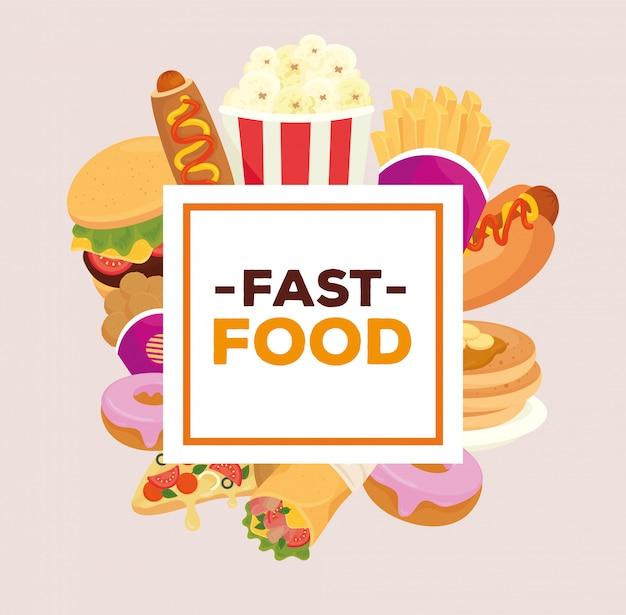 Bannière avec différents délicieux fast food