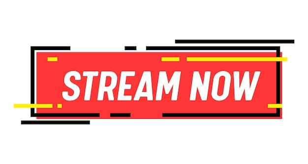 Bannière de diffusion maintenant. diffusion en direct, podcast radio ou actualités vidéo. emblème de l'écran de télévision. chaîne en ligne, autocollant ou icône d'événement en direct, diffusion isolée sur fond blanc. étiquette de vecteur linéaire