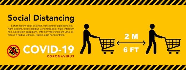 Bannière de distanciation sociale. gardez la distance de deux mètres. épidémie de coronavirus protectrice.